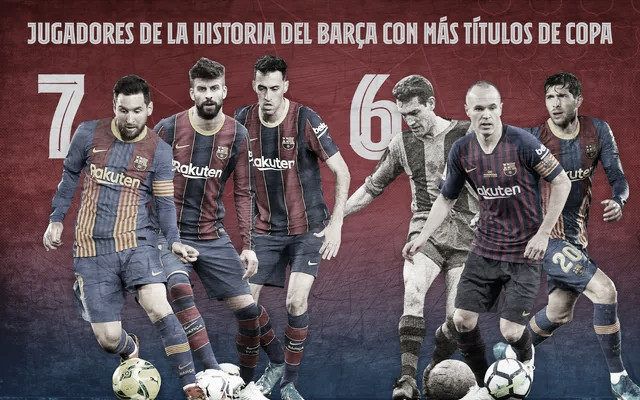 Messi, Sergio y Piqué se convierten en los culés con más Copas de la historia del Club