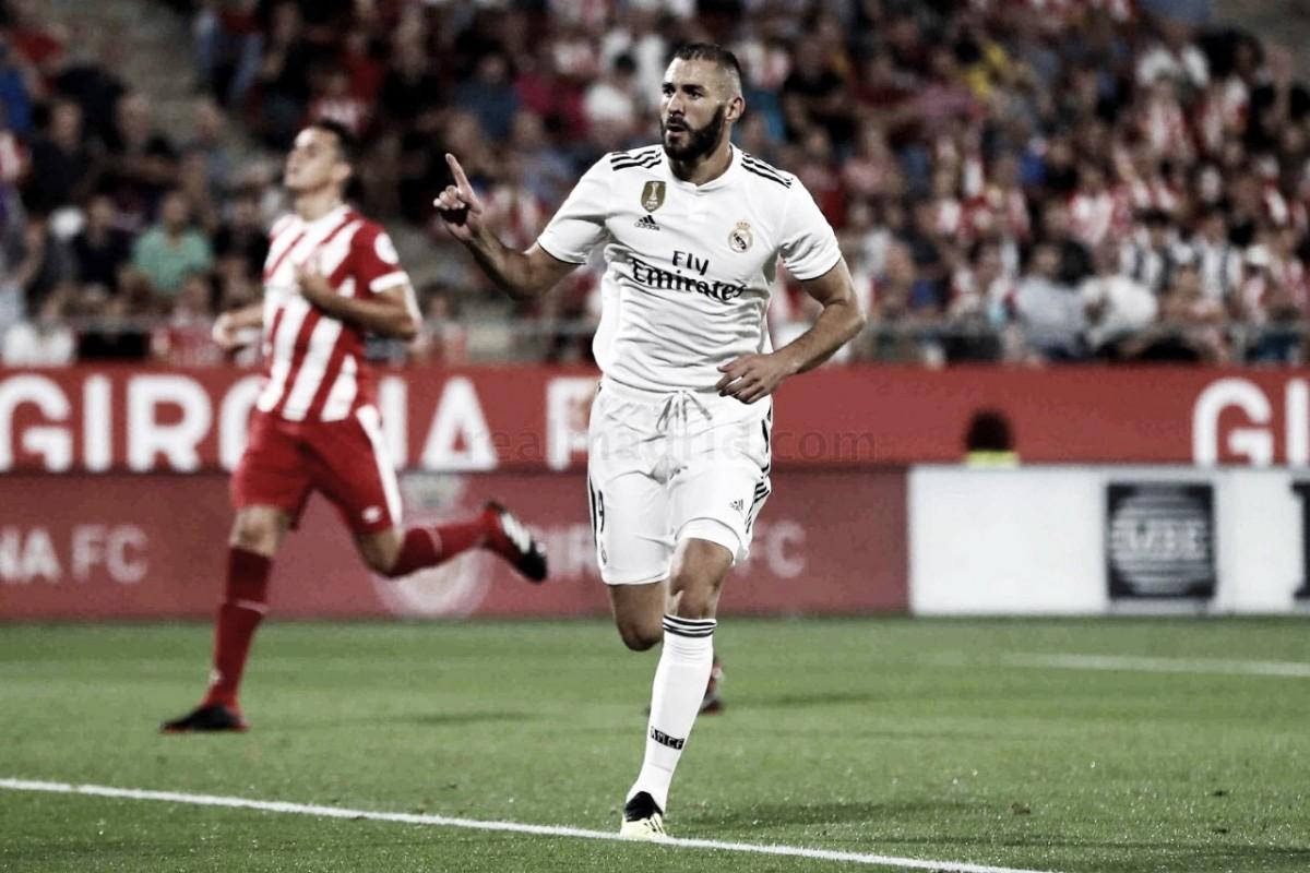 Com dois de Benzema, Real Madrid goleia Girona de virada e assume liderança da La Liga
