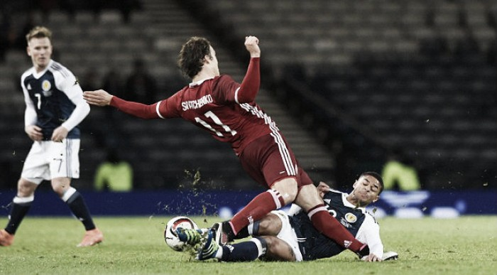 Liam Bridcutt defends himself after tackle on Erik Sviatchenko