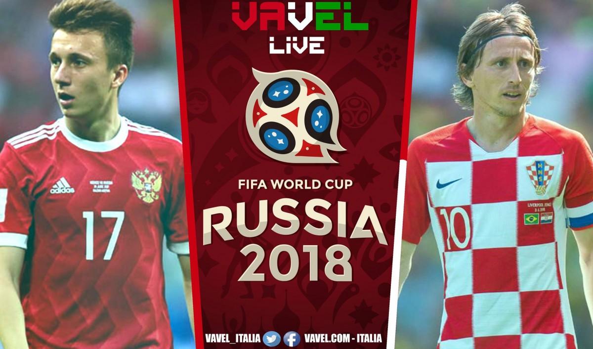 Russia - Croazia in diretta, LIVE Russia 2018 - Cheryshev, Kramaric, Vida, Fernandes! (2-2, 4-3 d.c.r.)