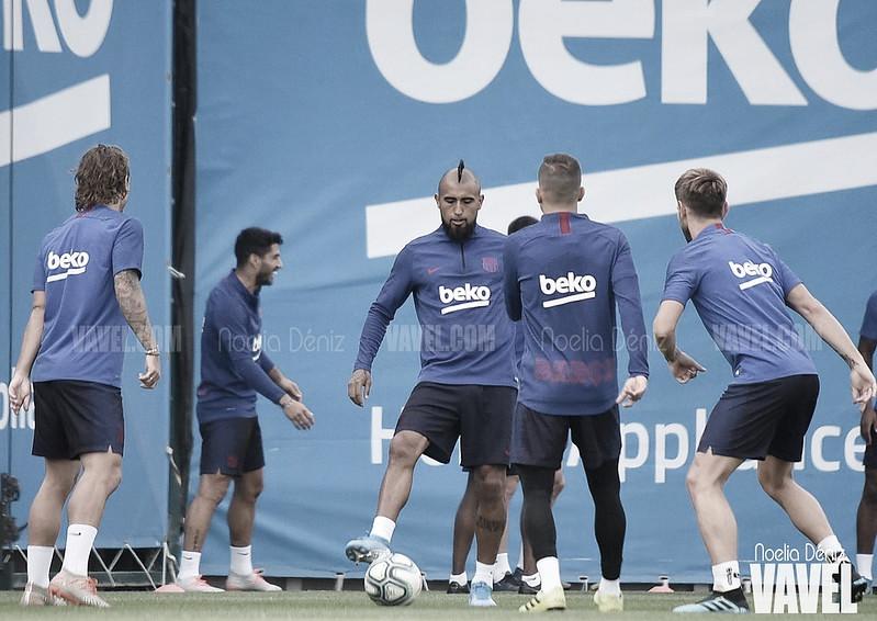 Entrenamiento en el Camp Nou