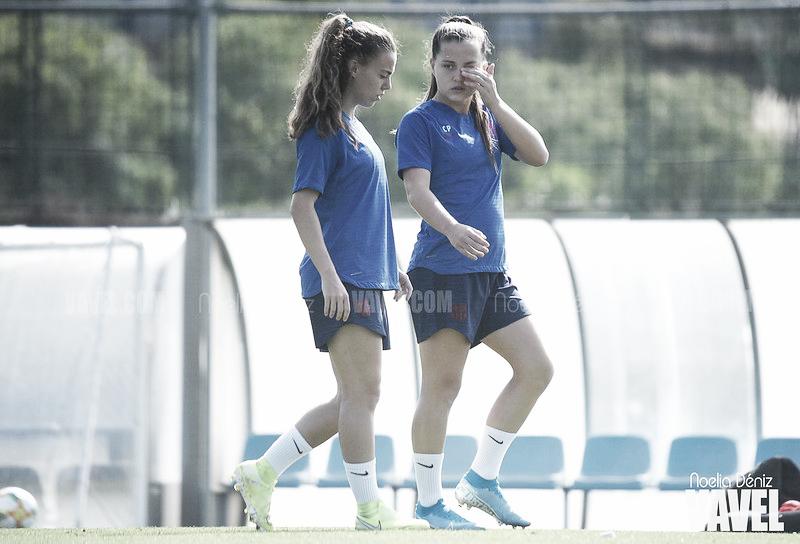 Último entrenamiento del Barça Femenino antes de medirse al Sporting de Huelva