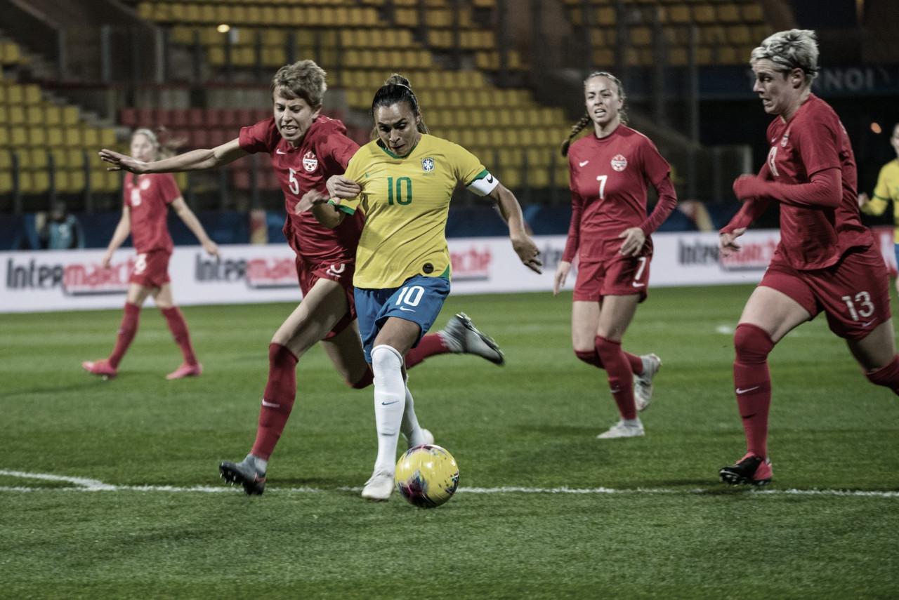 Brasil sai na frente, vacila no segundo tempo e cede empate para Canadá no Torneio da França