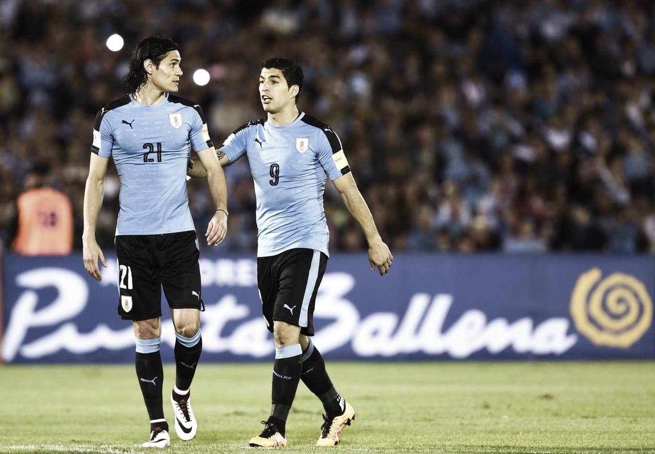 Los delanteros uruguayos brindaron una conferencia antes del partido VS Argentina