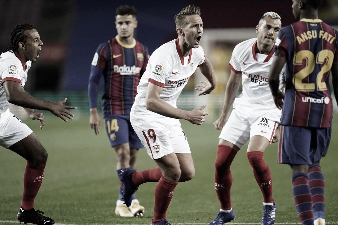 Celebración en el gol de Luuk De Jong | Foto: Sevilla FC (twitter)