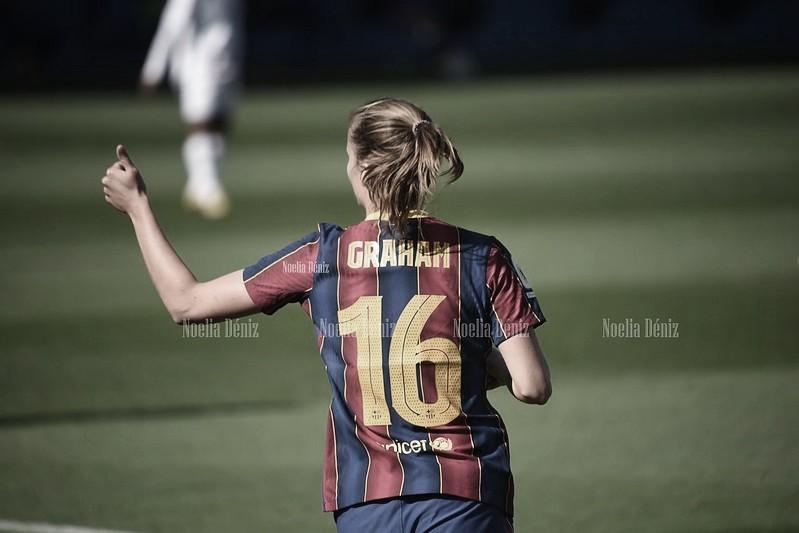 Caroline Graham en un partido con el Fútbol Club Barcelona durante la presente temporada | Foto de Noelia Déniz, VAVEL