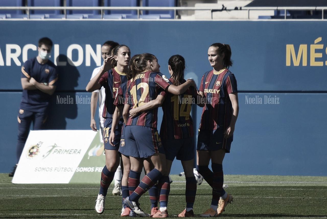 El Barça Femení celebrando un gol ante la EDF Logroño. Foto: Noelia Déniz, VAVEL