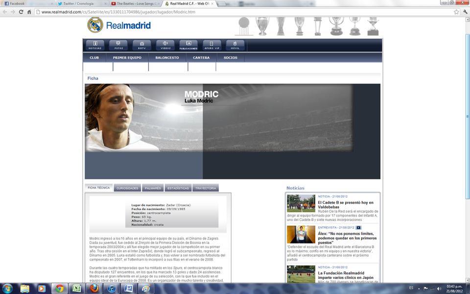 La ficha de Luka Modric aparece en la web del Real Madrid