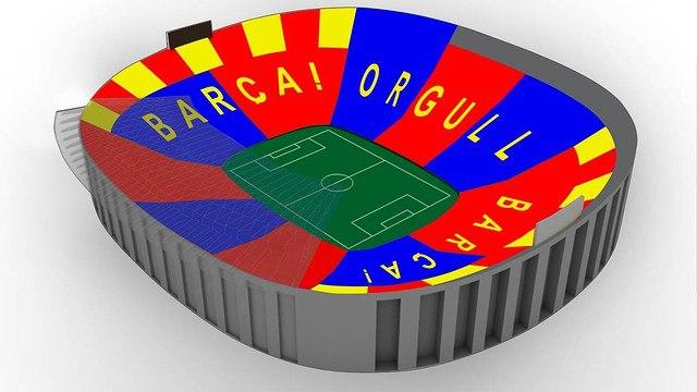 Torcedores do Barcelona preparam mosaico para partida contra o Bayern