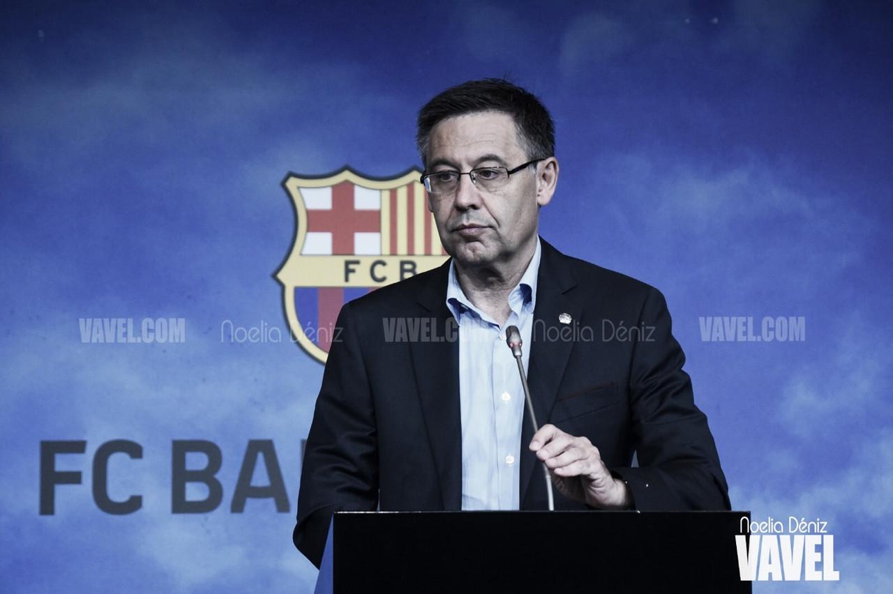 Josep Maria Bartomeu en una rueda de prensa celebrada durante la presente temporada | Foto de Noelia Déniz, VAVEL