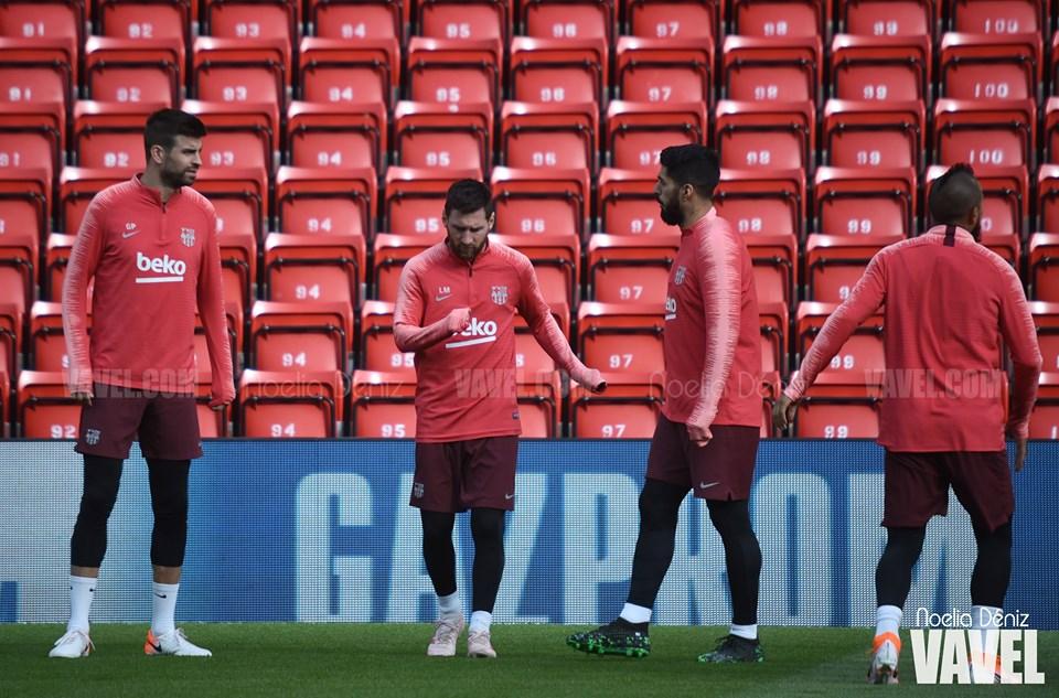 Último entrenamiento de cara al partido ante el Liverpool