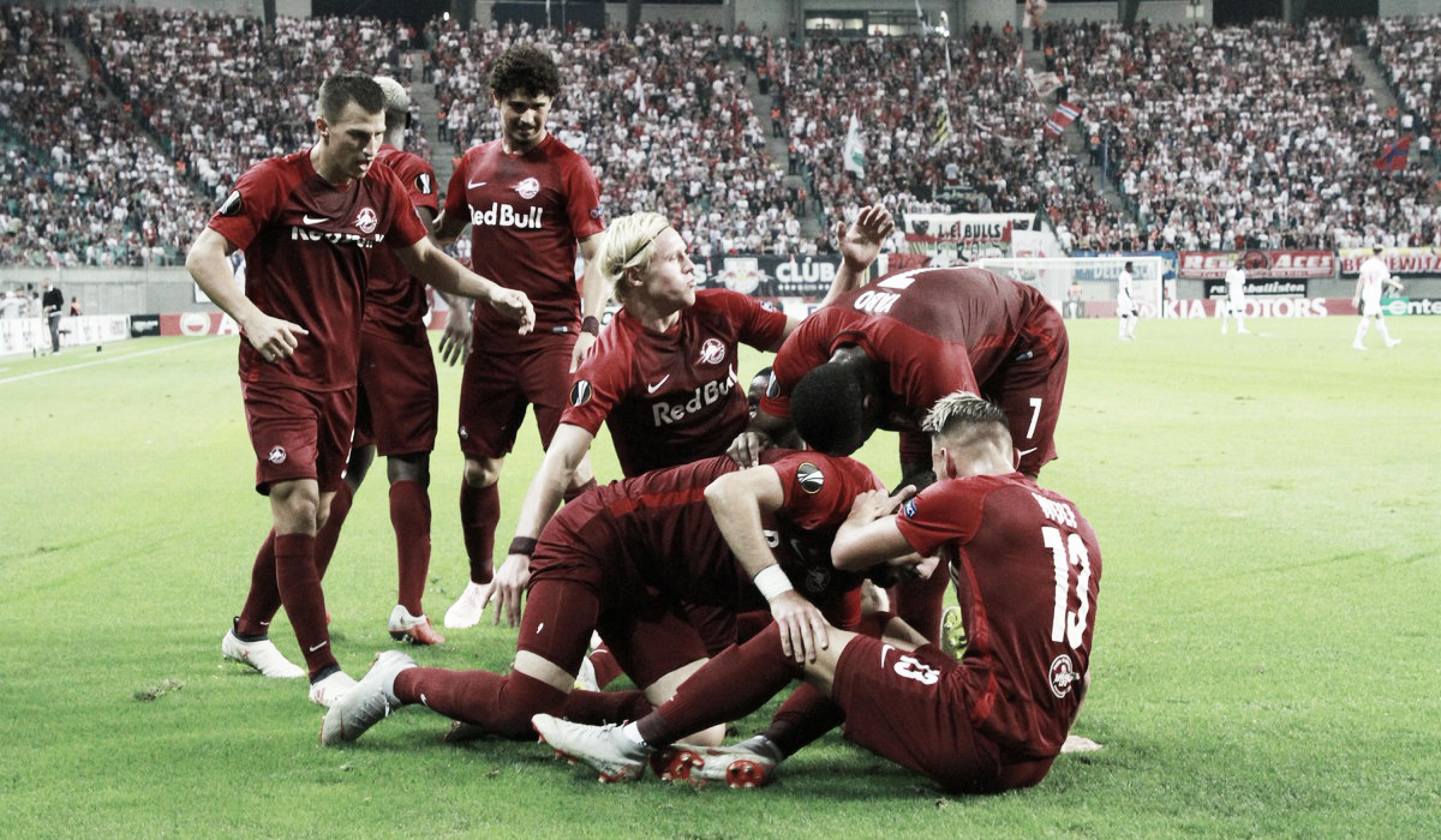 Leipzig leva dois, se recupera, mas Salzburg marca no fim e vence em estreia na Europa League