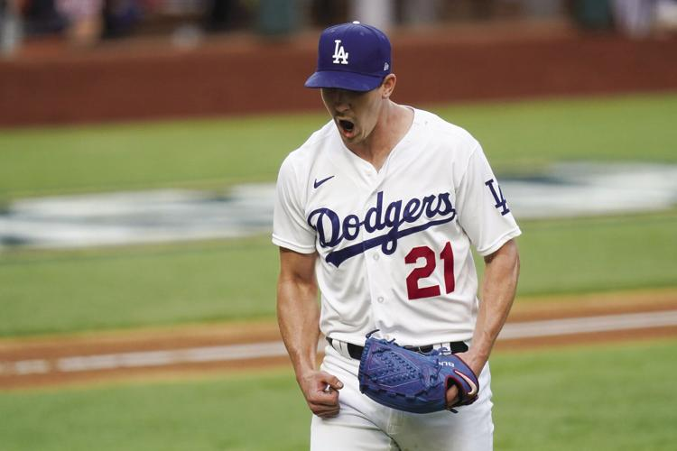 Buehler is pumped up during the Dodgers Game 6 victory/Photo:  Eric Gay/Associated Press