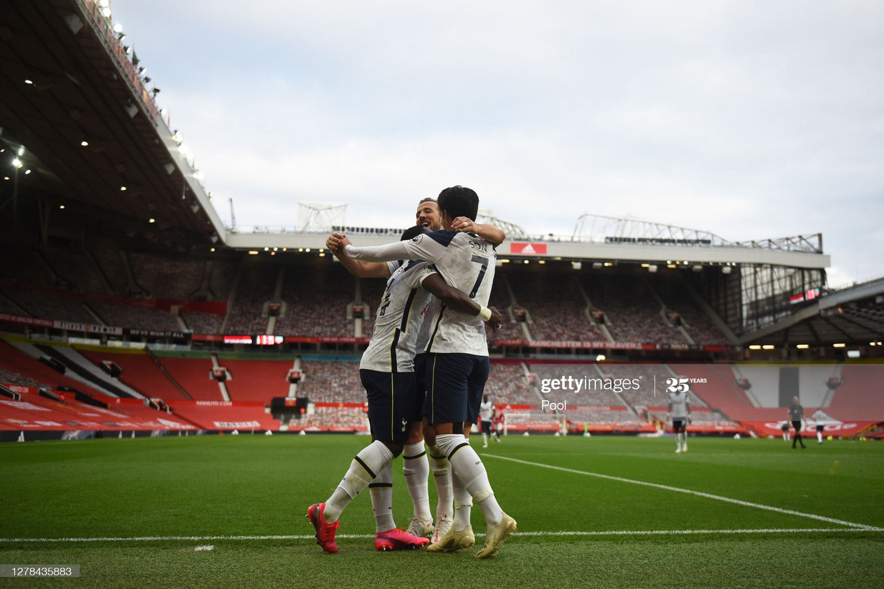 MANCHESTER, ENGLAND - OCTOBER 04: Son Heung-Min of Tottenham Hotspur celebrates after scoring his team's fourth goal with his team mates during the Premier League match between Manchester United and Tottenham Hotspur at Old Trafford on October 04, 2020 in Manchester, England. Sporting stadiums around the UK remain under strict restrictions due to the Coronavirus Pandemic as Government social distancing laws prohibit fans inside venues resulting in games being played behind closed doors. (Photo by Oli Scarff - Pool/Getty Images