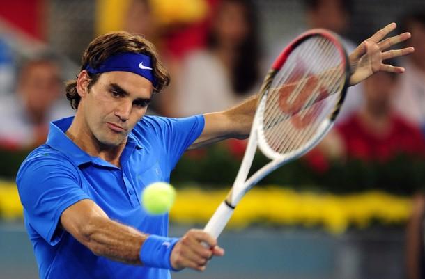 Federer se gusta sobre la arcilla azul