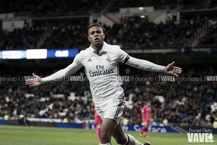 Mariano, durante la celebración de un gol con el Real Madrid | Foto: Daniel Nieto VAVEL España