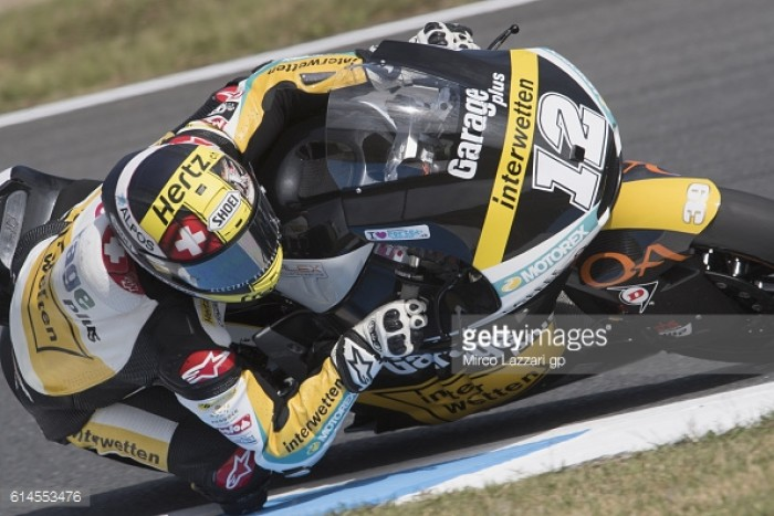 Luthi on top of the Moto2 class after day one in Japan