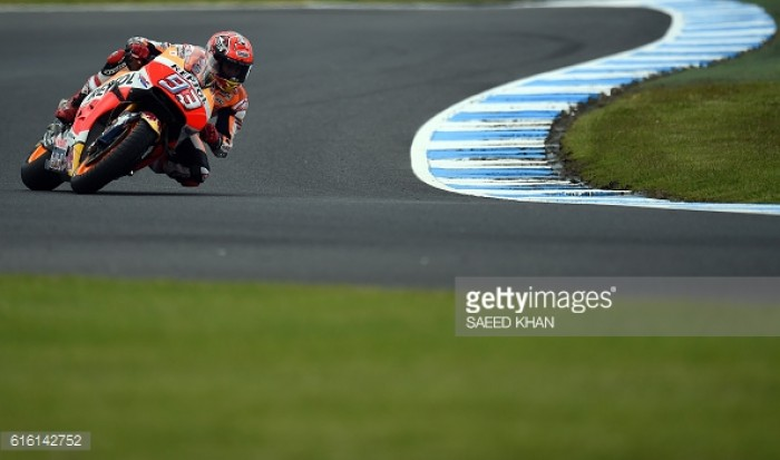 Mixed weather and brave tyre choices make for an interesting MotoGP Qualifying as Marquez claims pole ahead of Australian GP