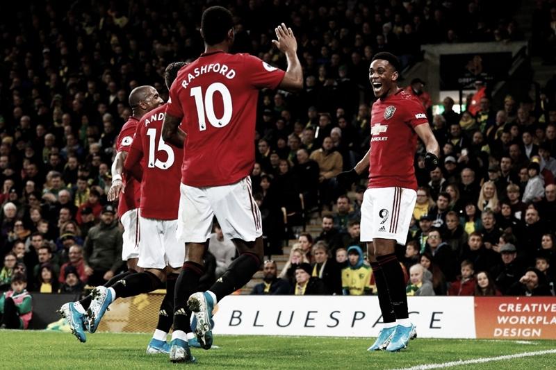 Mesmo com dois pênaltis perdidos, United joga bem e derrota Norwich fora de casa