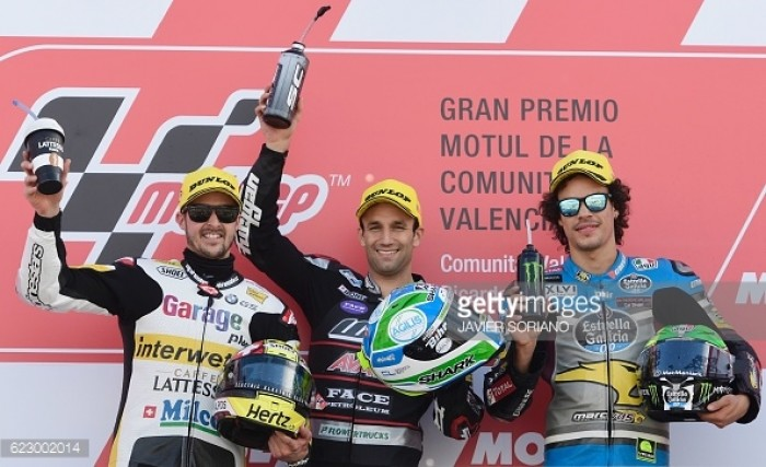 Moto2: Zarco, Luthi and Morbidelli complete final podium in Valencia