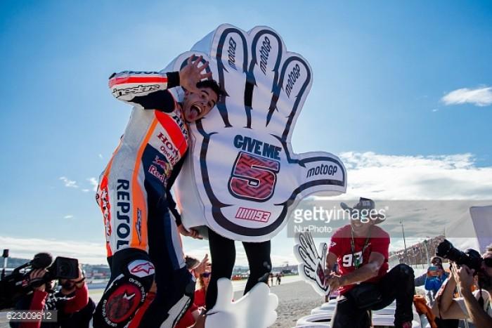 Marquez celebrates second in Valencia and championship win in style