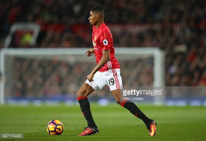 Rashford admits playing wide assists his development as a striker