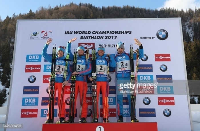 Russia hold off French challenge to win men's relay at Biathlon World Championships