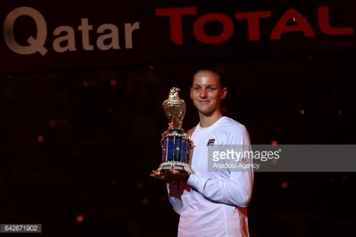 WTA Doha: Karolina Pliskova wins championship with solid performance over Caroline Wozniacki