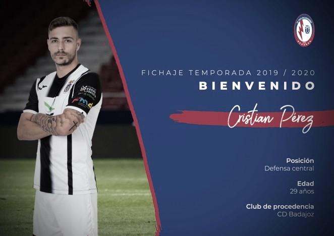 Otro fichaje del Rayo Majadahonda: Cristian Pérez, procedente del CD Badajoz