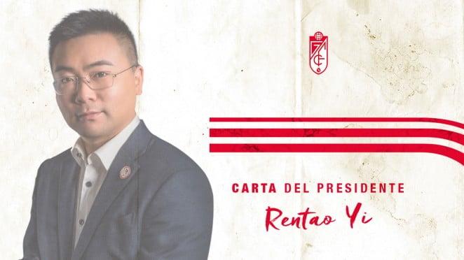 El presidente del Granada CF, Rentao Yi, manda una carta a la afición
