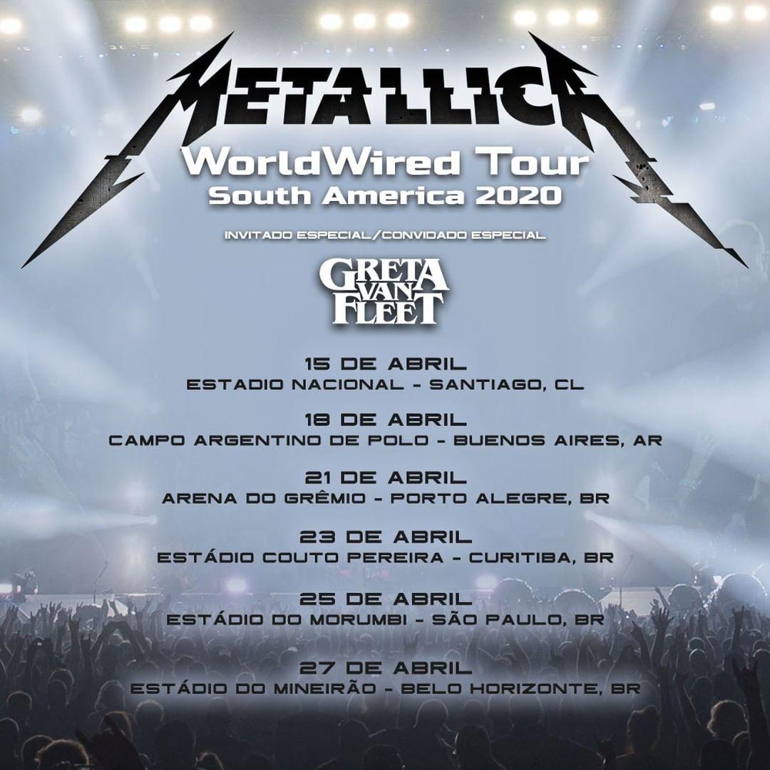 Arena do Grêmio, Couto Pereira, Mineirão e Morumbi: Metallica anuncia shows no Brasil em 2020