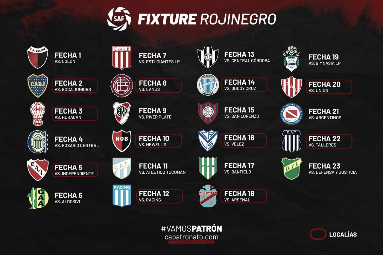 El Rojinegro ya posee su fixture de la Superliga