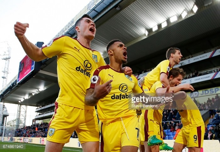 Crystal Palace 0-2 Burnley: Visitors all but secure safety with first away win of the season