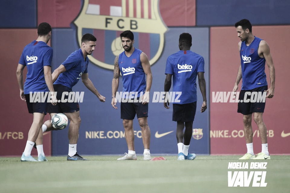 Último entreno del FC Barcelona antes del estreno liguero