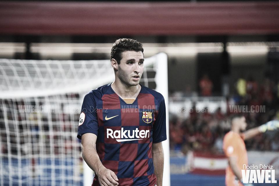 Abel Ruiz celebra los 50 partidos con el Barça B