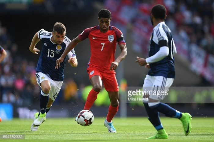 "Gareth Southgate states that Marcus Rashford not being ""pinned down to one position"" is a positive"