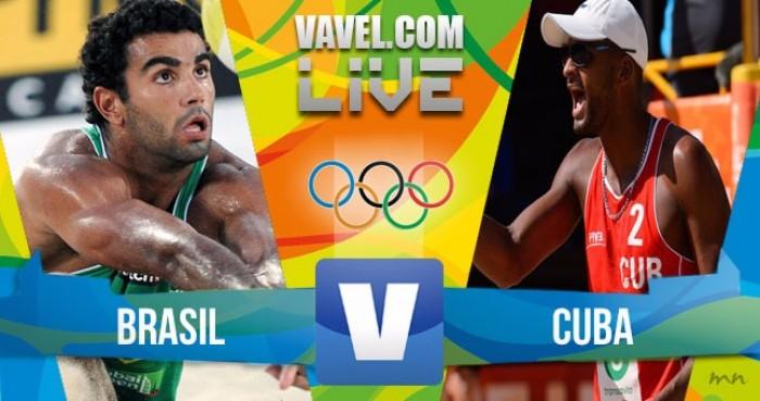 Resultado Brasil x Cuba no vôlei de praia masculino dos Jogos Olímpicos (1-2)