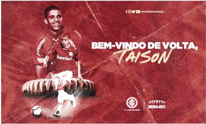 Internacional anuncia retorno de Taison após 11 anos