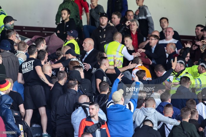 Final Burnley pre-season game abandoned as Hannover 96 fans run riot at Turf Moor