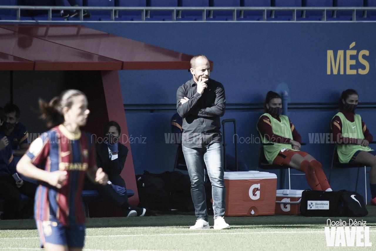 Lluís Cortés durante el primer partido disputado en el Estadi Johan Cruyff en la presente temporada liguera | Foto de Noelia Déniz, VAVEL