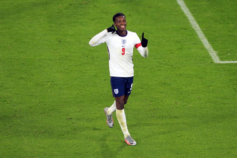 England Striker Eddie Nketiah celebrating a goal. (Photo/Getty Images:  by Simon Stacpoole)