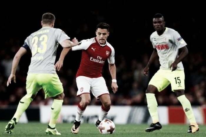 Arsenal sai atrás, mas se supera e vira sobre o Colonia no retorno à Uefa Europa League
