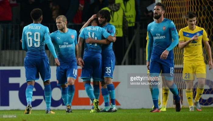 BATE Borisov 2-4 Arsenal: Walcott double guides visitors to nervy Europa League win