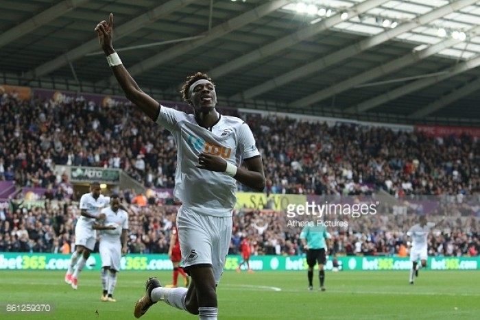 Swansea City 2-0 Huddersfield Town: Abraham brace gives Swans first home win