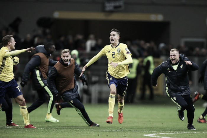 Em jogo recheado de polêmicas, Suécia neutraliza ímpeto da Itália e se classifica à Copa do Mundo