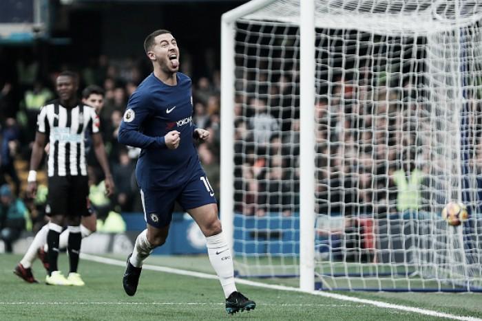 Chelsea sai atrás, mas consegue virada sobre Newcastle com show de Hazard