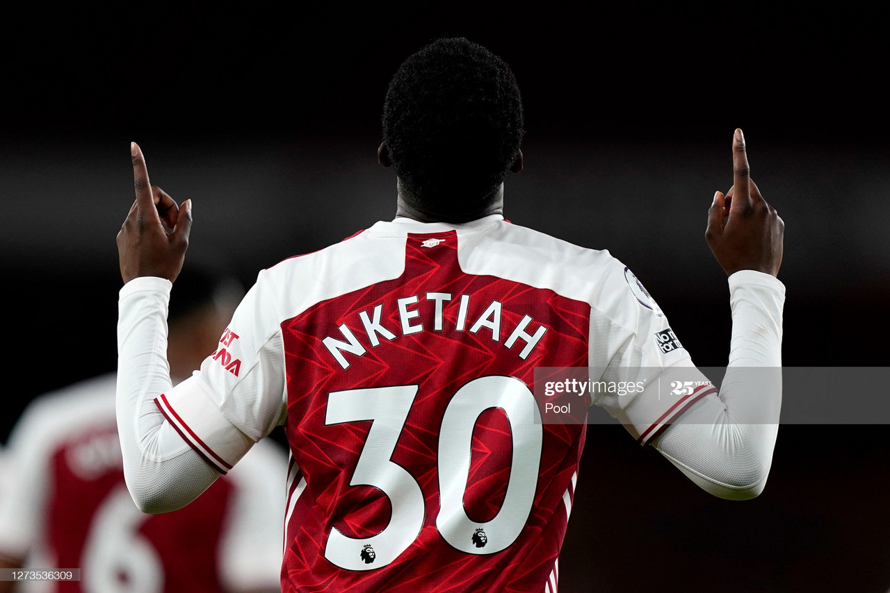 LONDON, ENGLAND - SEPTEMBER 19: Eddie Nketiah of Arsenal celebrates after scoring his team's second goal during the Premier League match between Arsenal and West Ham United at Emirates Stadium on September 19, 2020 in London, England. (Photo by Will Oliver - Pool/Getty Images)