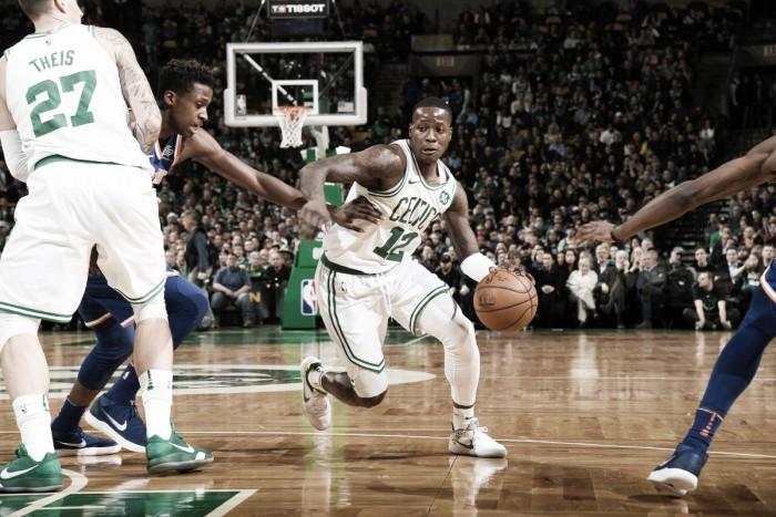 Sem Irving, Rozier brilha com triplo-duplo e lidera atropelo dos Celtics sobre Knicks