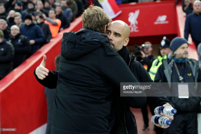 Pep Guardiola graciously gives credit to ferocious Liverpool following City's first league defeat of the season