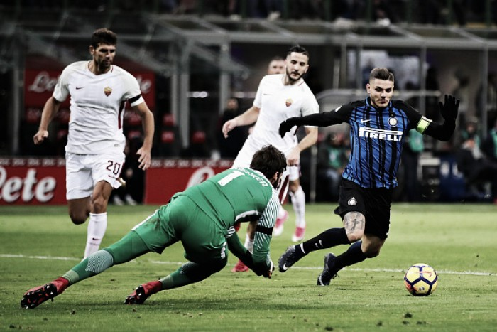 Alisson dá assistência, pega tudo, masRoma recua demais e cede empate à Internazionale